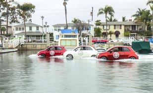 Swimming Fiat 500 (Jetskis) at Surf Championships in California