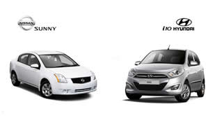 Nissan Sunny and Hyundai i10 on top