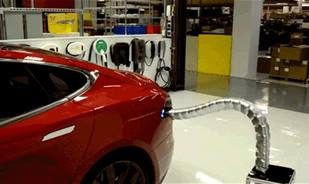 You must watch the new Tesla's self-actuating, self-plugging snake charger
